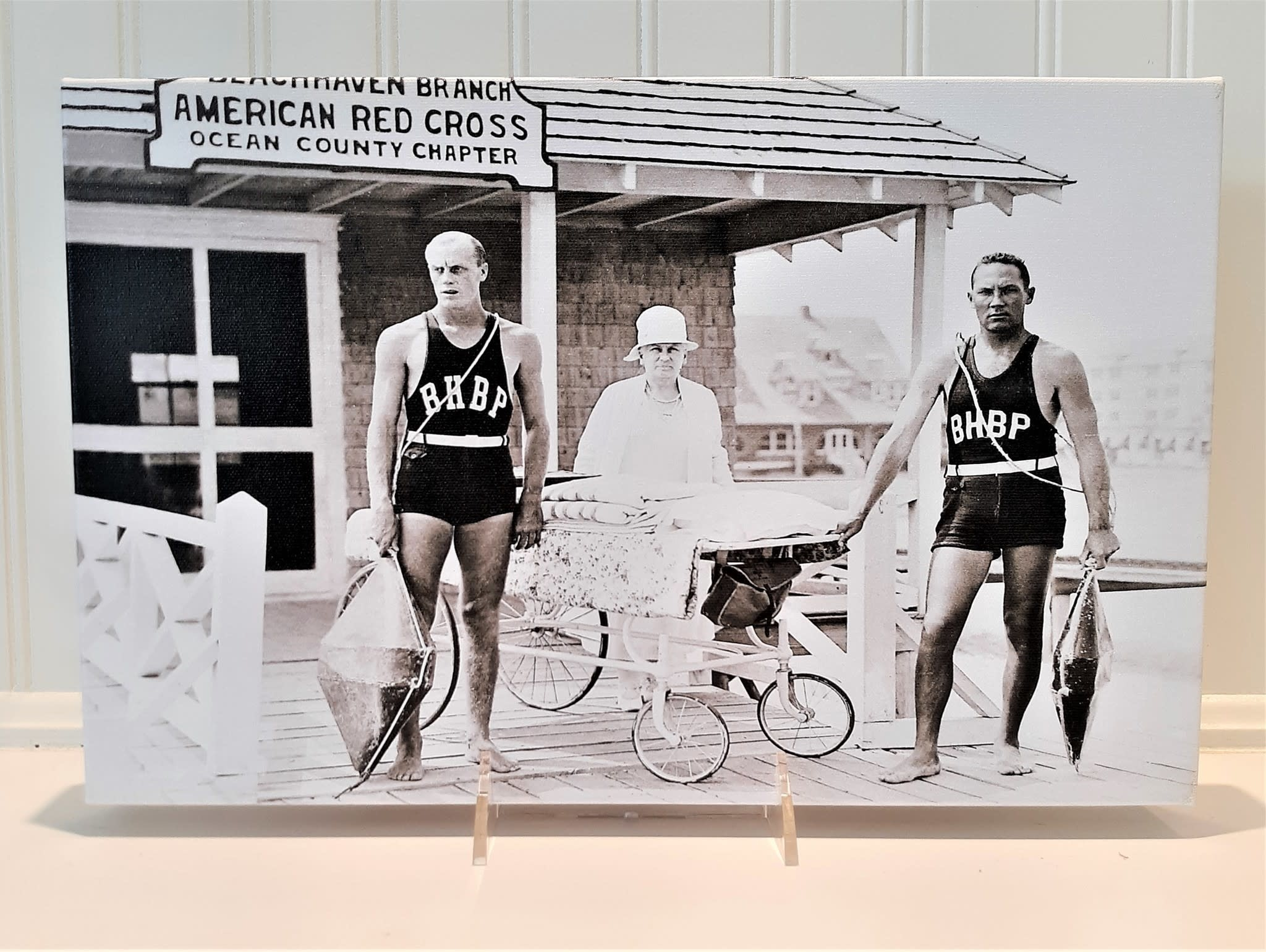 Canvas 9x14  American Red Cross Beach Haven Black and White