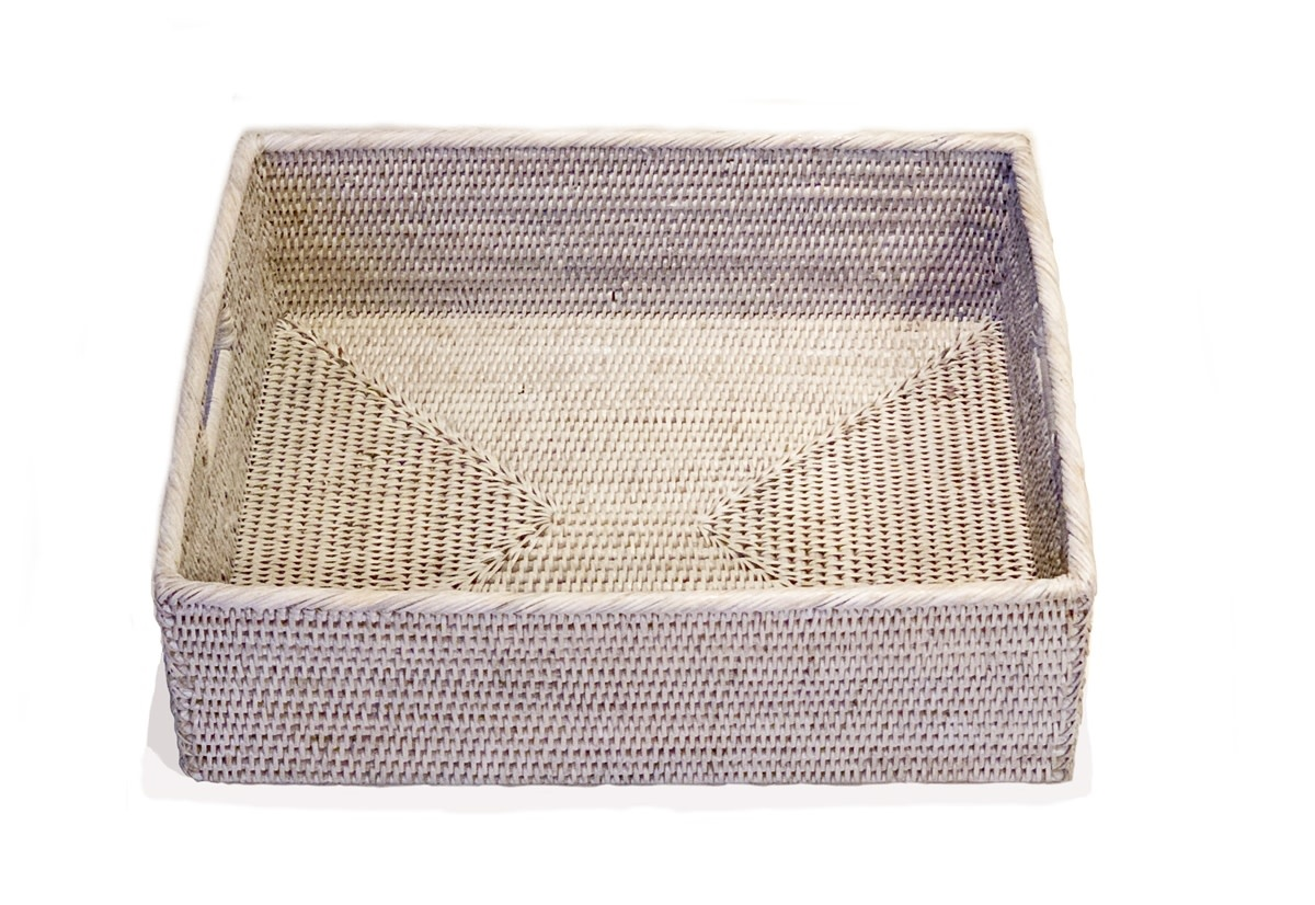 Rectangular Tray with Cut Out Handle White