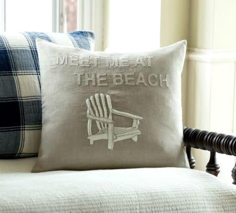 Meet Me at the Beach Natural Pillow 20x20