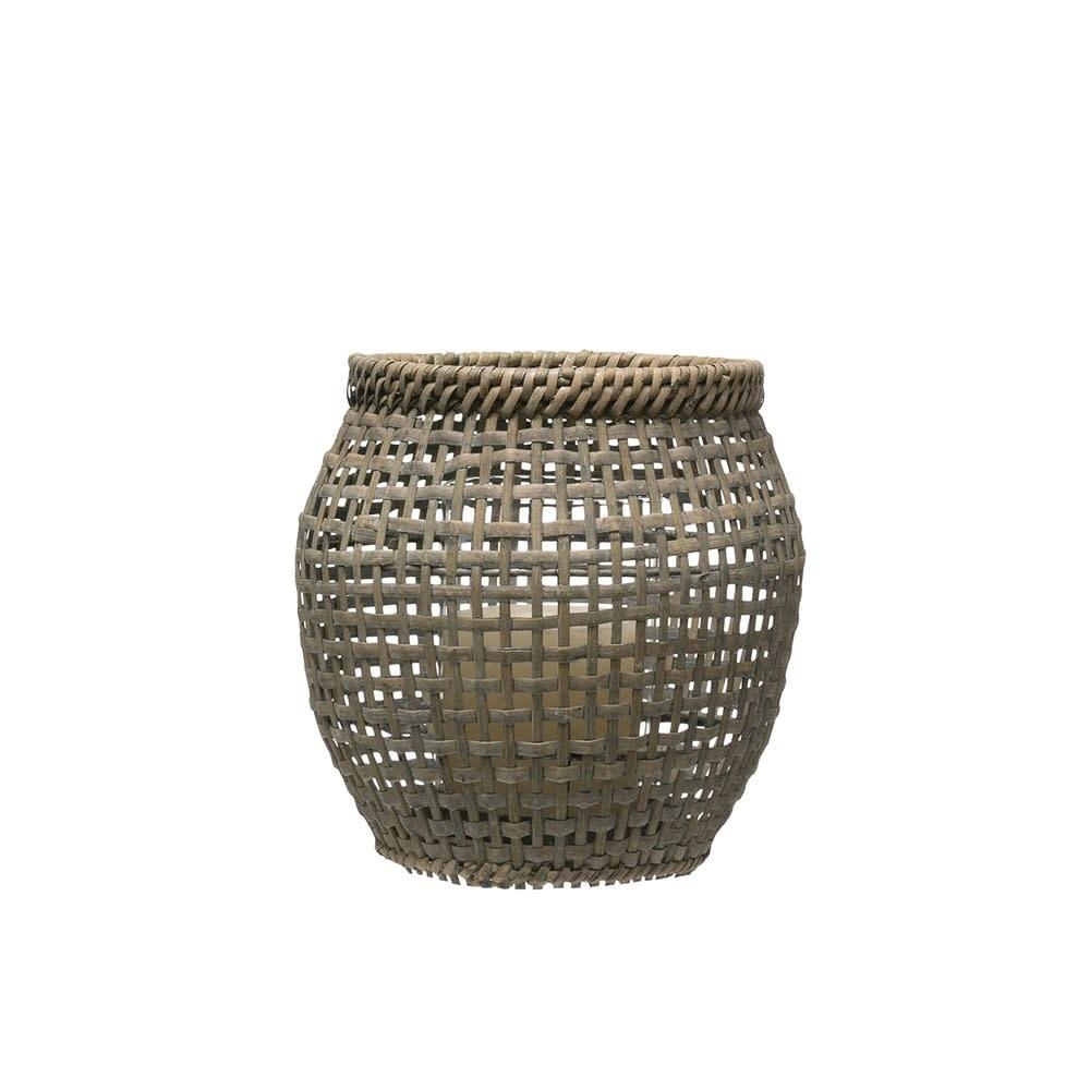 Woven Rattan Lantern w/ Glass Insert, Grey Washed Large