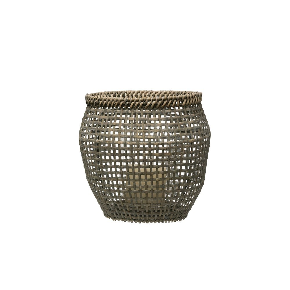 Woven Rattan Lantern w/ Glass Insert, Grey Washed Small