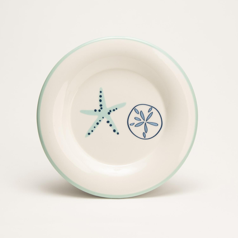 "7.5"" Round Plate - Aqua Shells"
