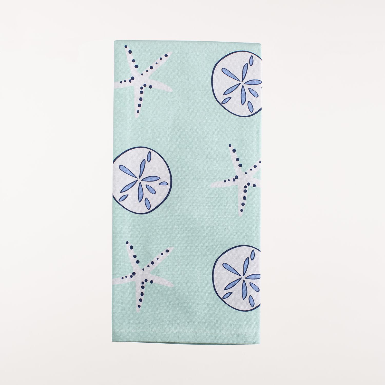 """28"""" x 20"""" Kitchen Towel - Aqua Shells"""