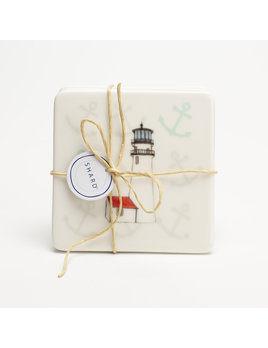 4 Piece Coaster Set - Lighthouse Cape Cod