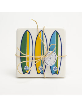 4 Piece Coaster Set - Surfboard