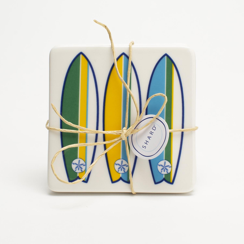 4 Piece Coaster Set - Surfboard