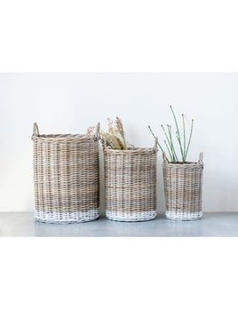 Rattan Baskets with Handles Large