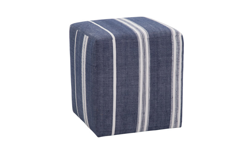 Azur Cube Pouf Aden Navy and Natural
