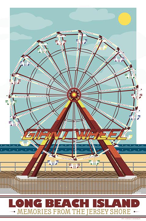 LBI Ferris Wheel 11x17 White Frame