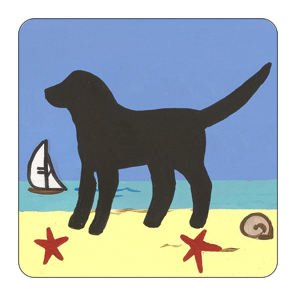 4 Piece Coaster Set - Beach Dog Black