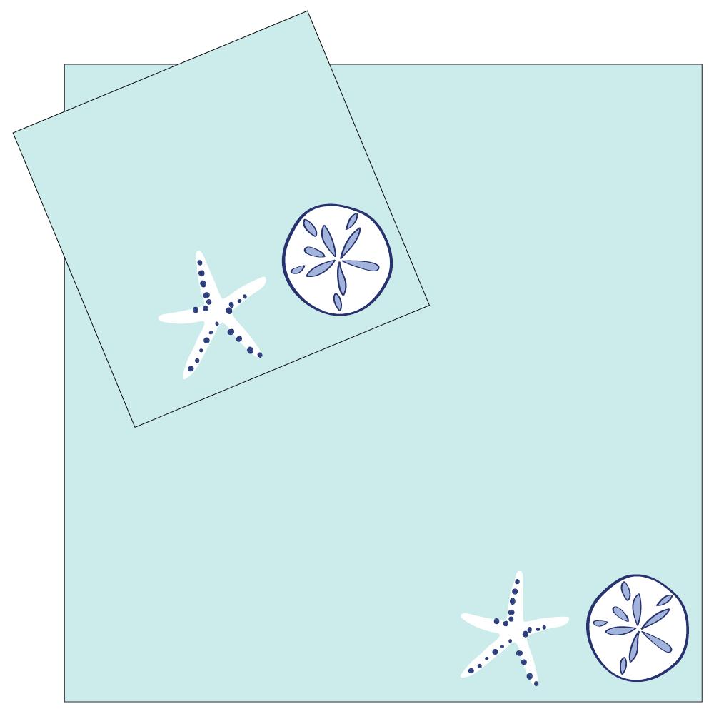 4 Piece Napkin Set - Aqua Shells