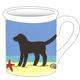 """4.25"""" Mug - Beach Dog Black"""