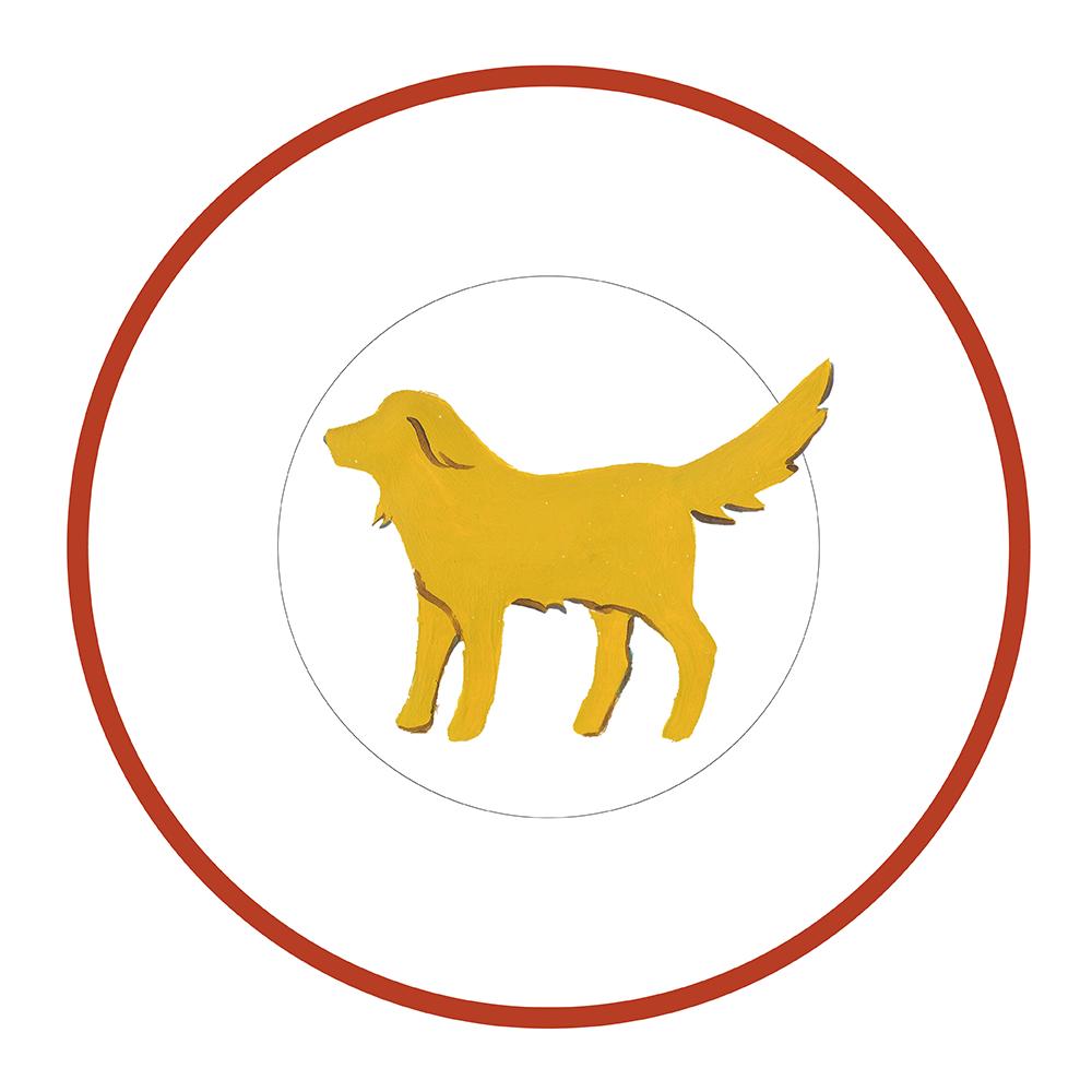 """7.5"""" Round Plate - Beach Dog Yellow"""