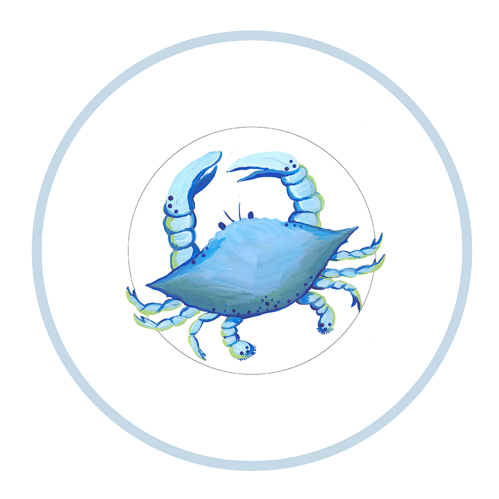 "7.5"" Round Plate - Blue Crab"