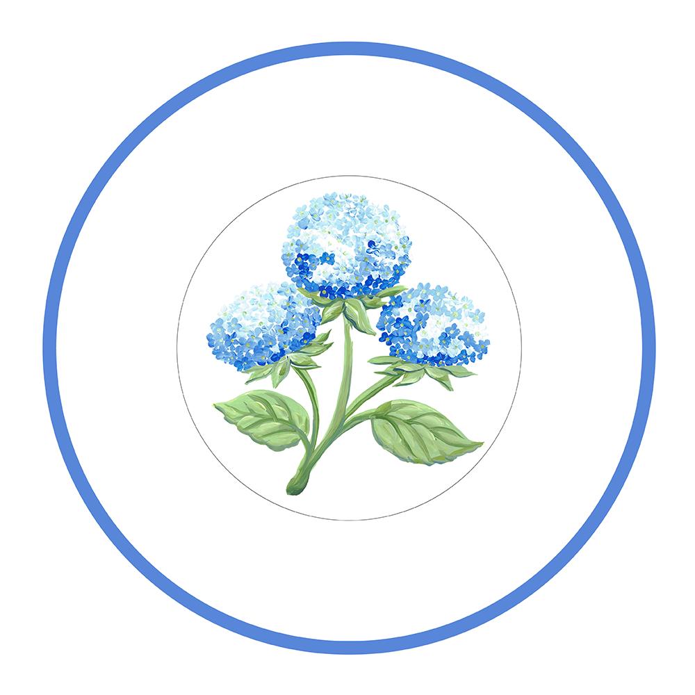 """7.5"""" Round Plate - Hydrangea"""