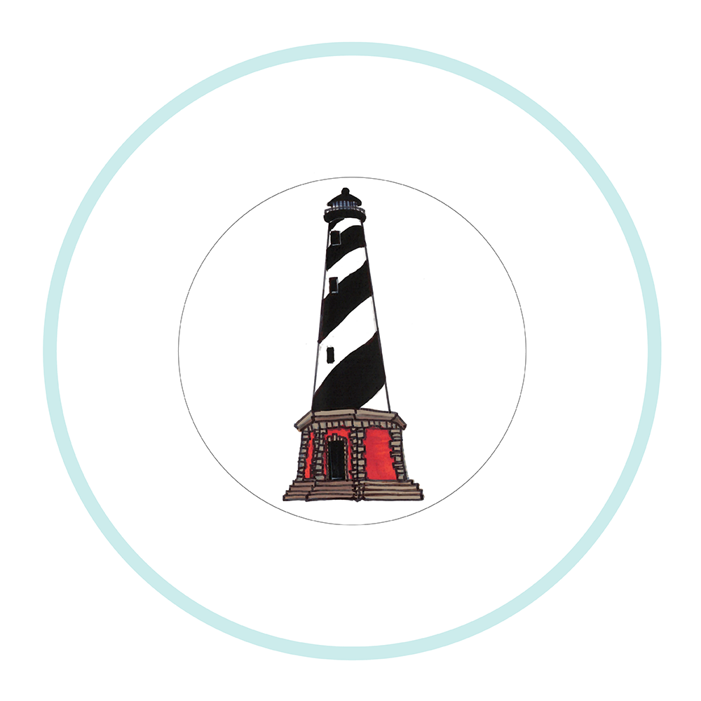 """7.5"""" Round Plate - Lighthouse Outer Banks"""