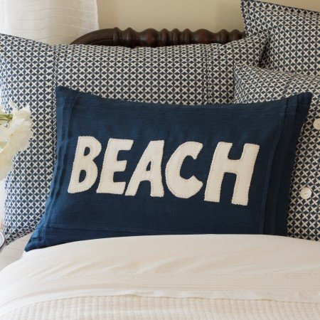 Beach Indigo Linen Pillow 16x24