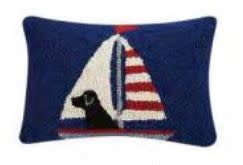 Lab in Sailboat 8x12 Hooked Pillow
