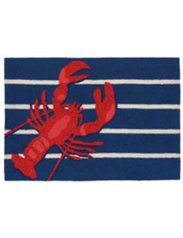 Lobster on Stripes Rug 24x36