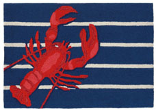 Lobster On Stripes Rug 24x36