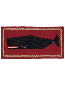 Hooked Rug  Black Whale 2x4