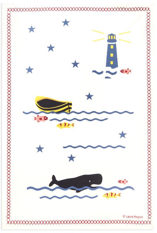 Whale Waves 18x26 Kitchen Towel