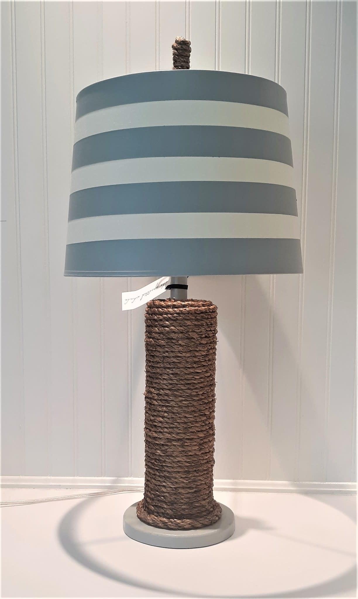 Manila Rope Spindle Lamp Pale Grey