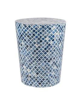 Tabla Round Inlay Stool  Blue and White
