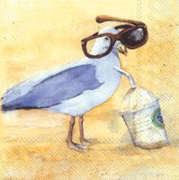 Funny Seagulls Sun Cocktail Napkin