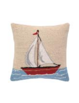 Sailboat 16x16 Hooked Pillow