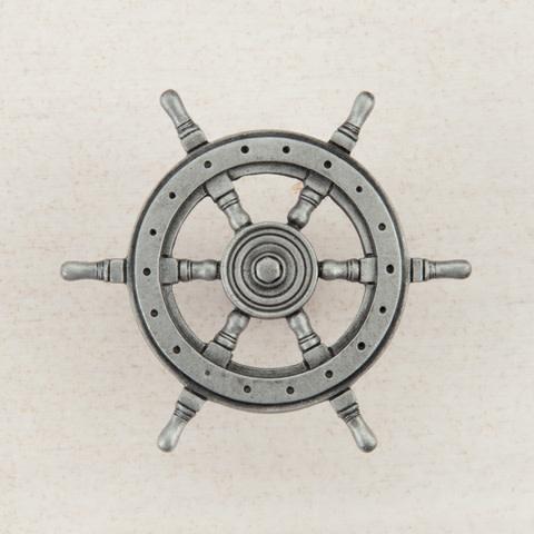 Pewter Knob  Ship Wheel