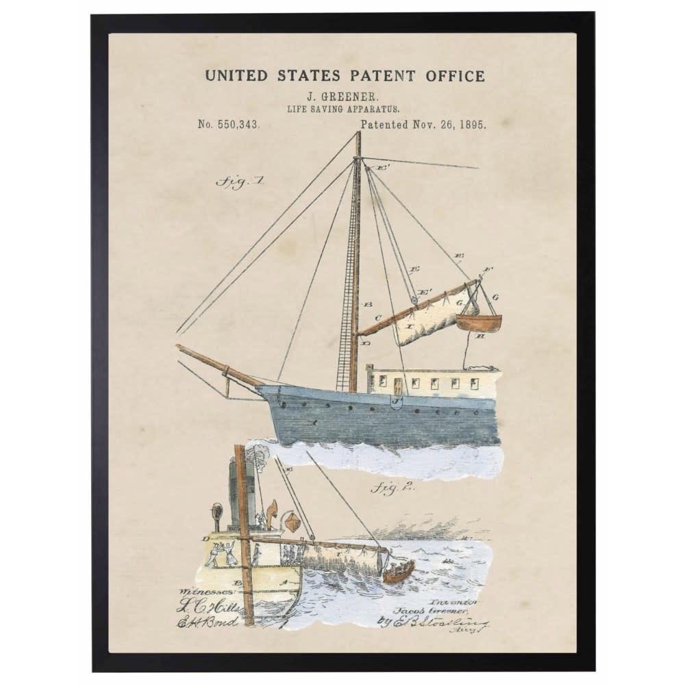 Watercolor Patent Life Saving Apparatus 22x28