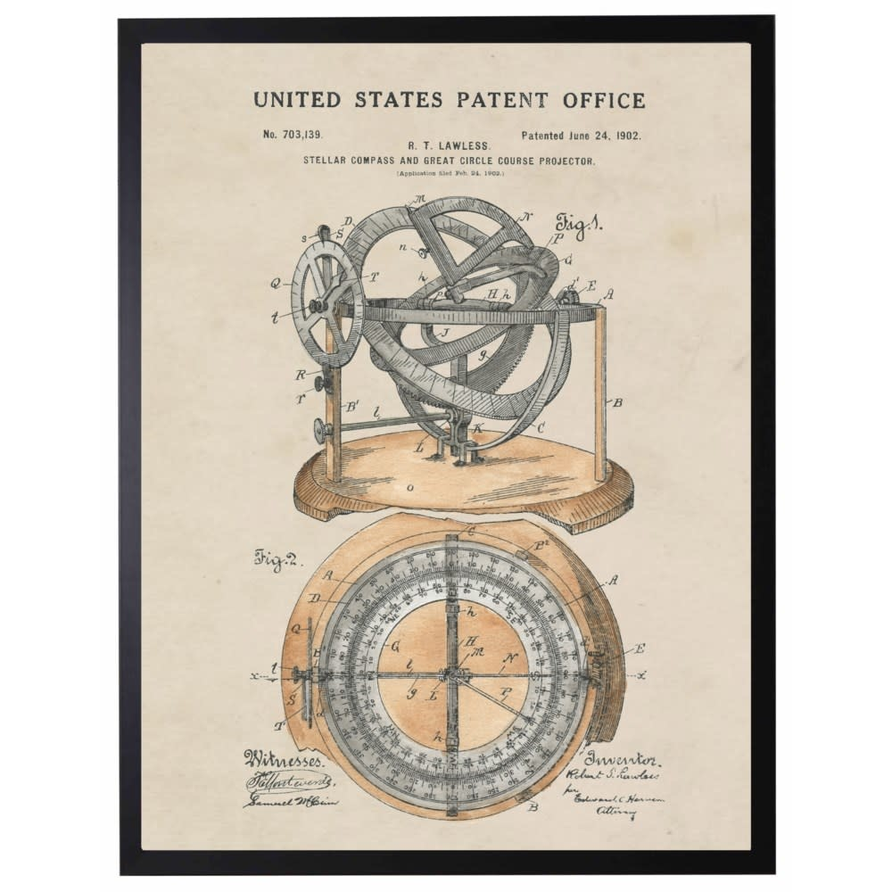 Watercolor Patent Compass 22x28