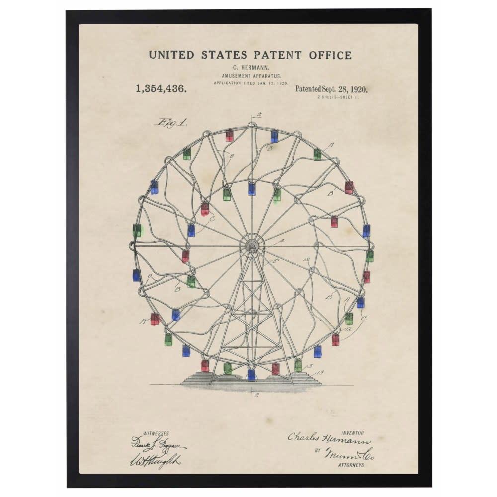 Watercolor Patent Ferris Wheel 22x28