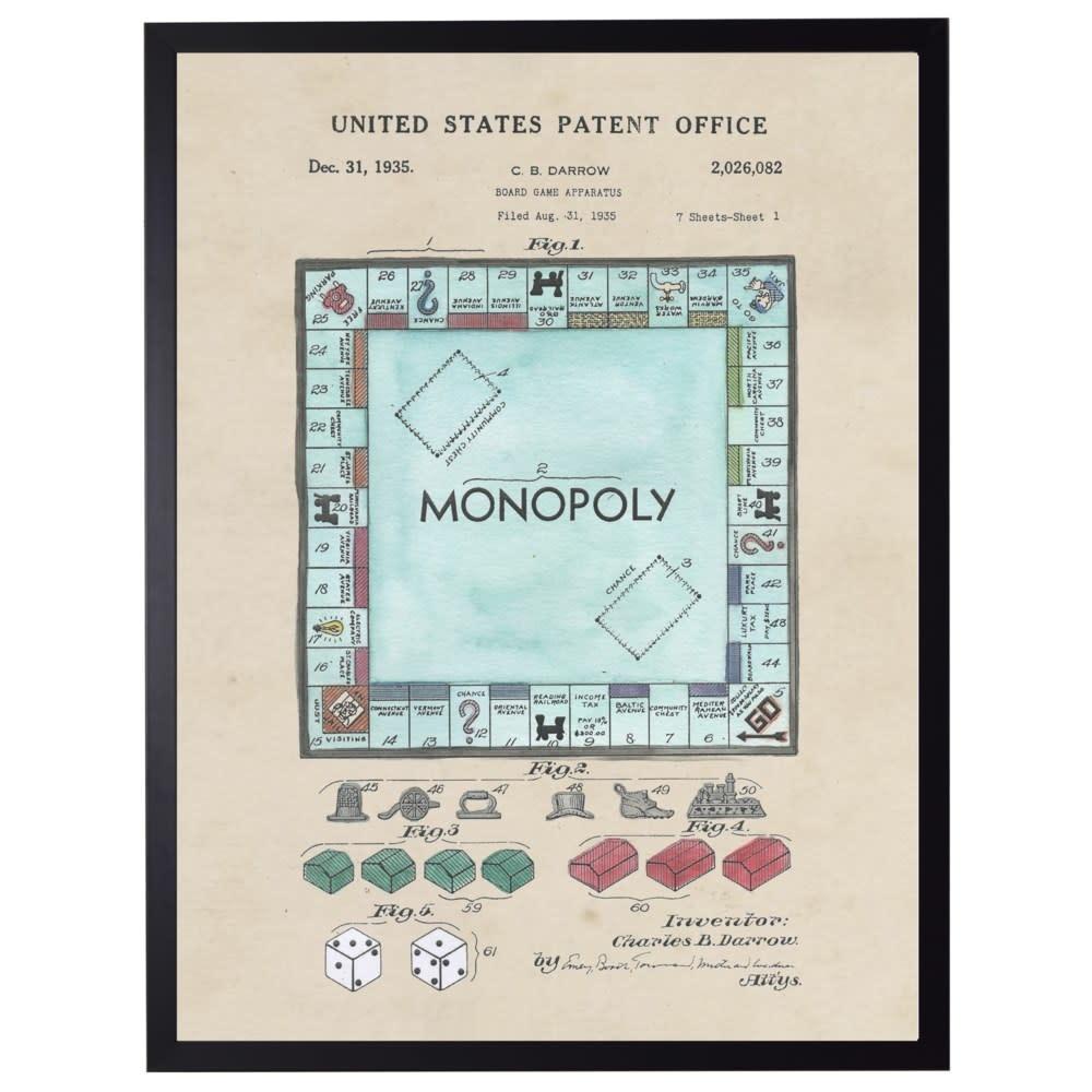 Watercolor Monopoly Patent 22x28