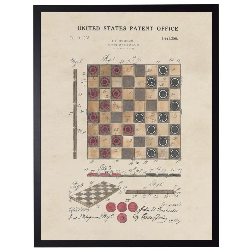 Watercolor Checkers Patent 22x28