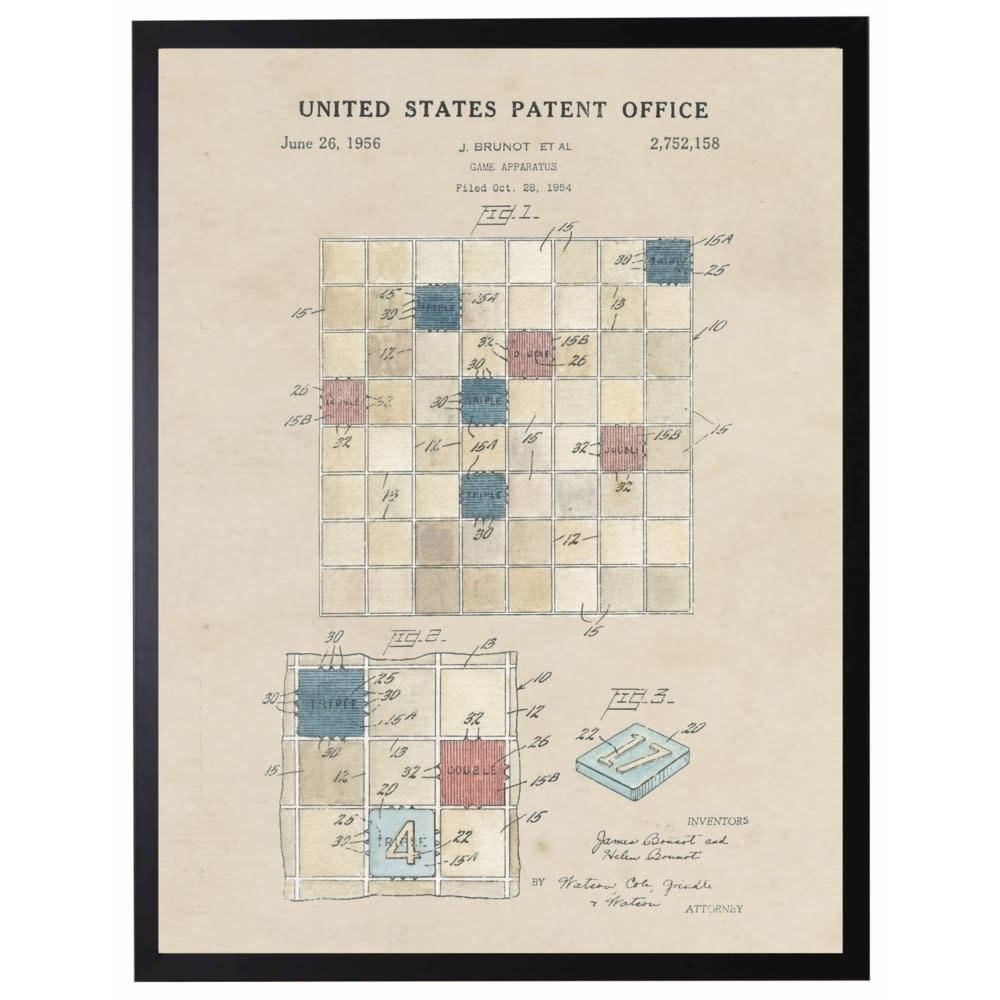 Watercolor Scrabble Patent 22x28