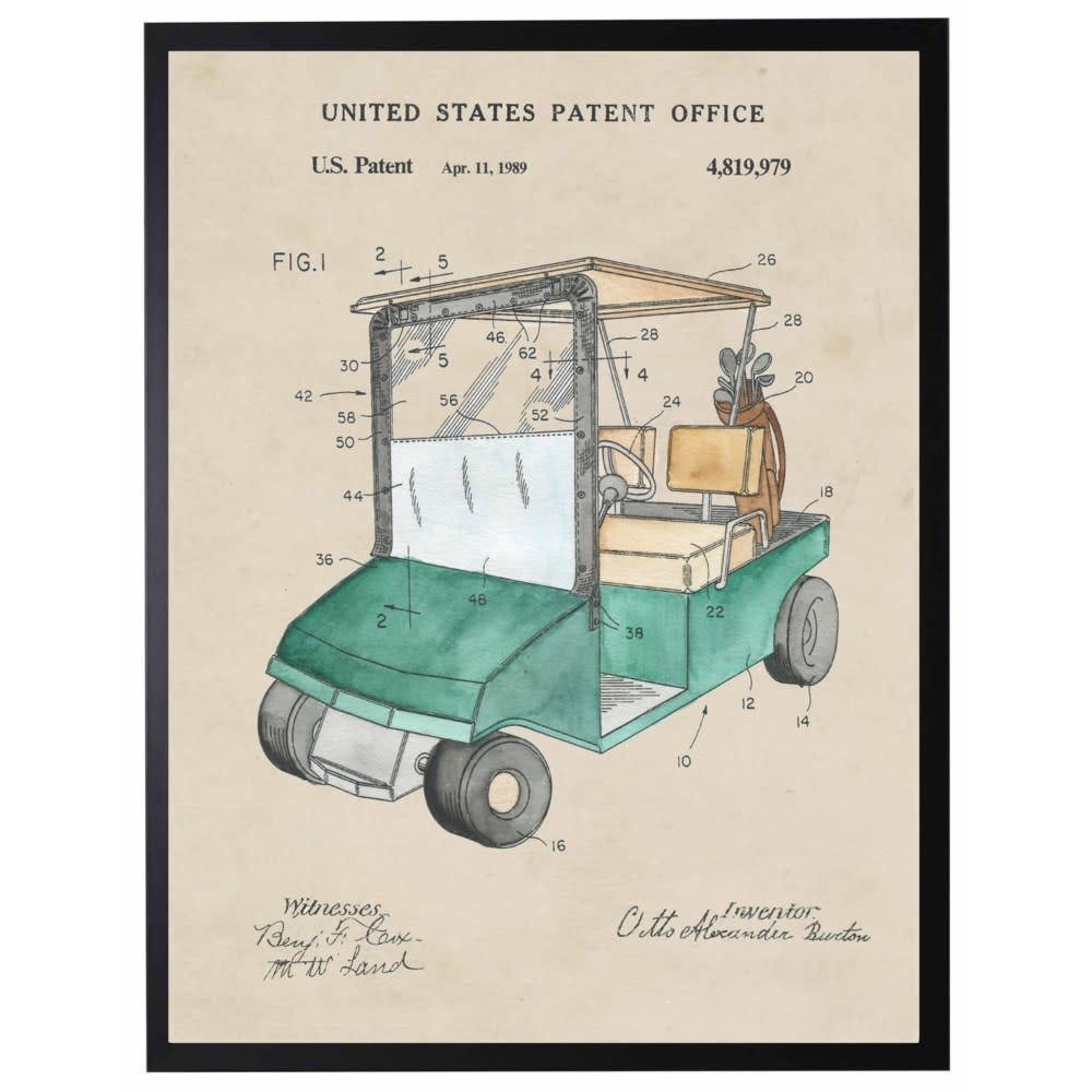 Watercolor Golf Cart Patent 22x28 with Black Frame