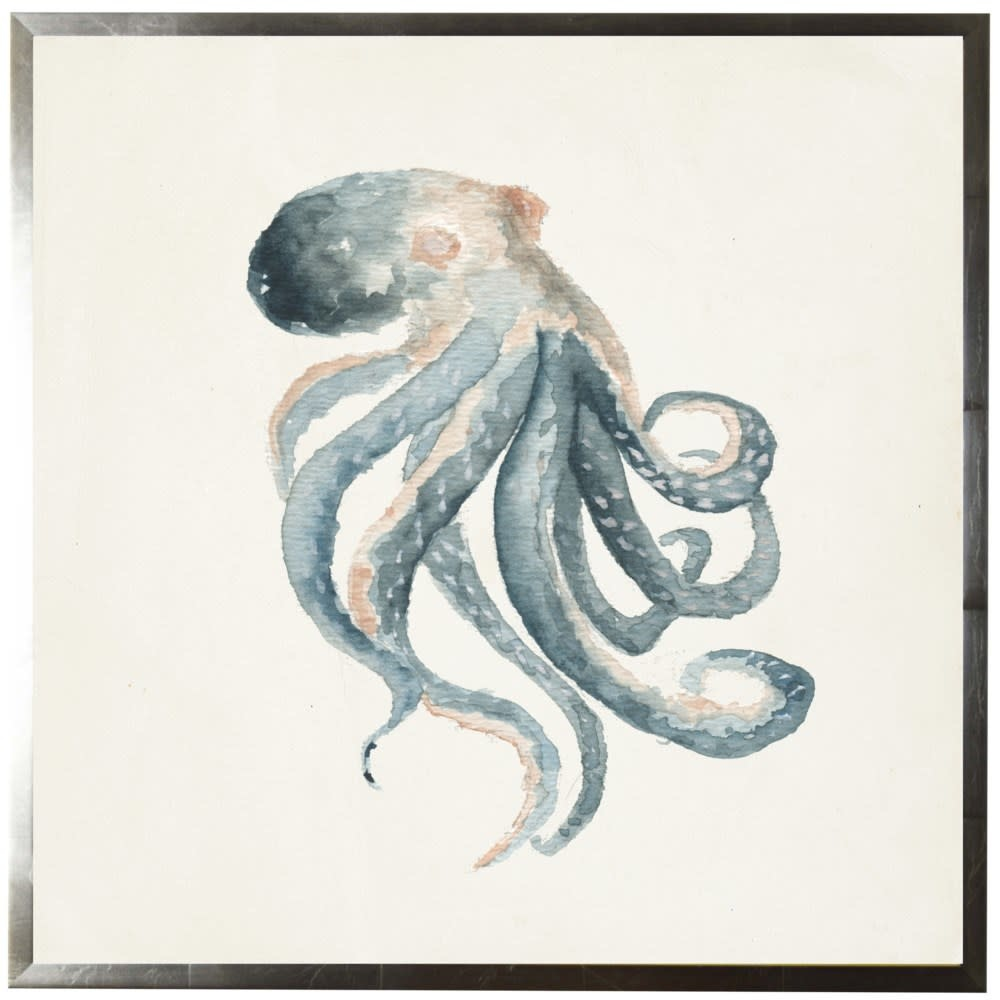 Watercolor Octopus Facing Right 18x18 with Silver Frame