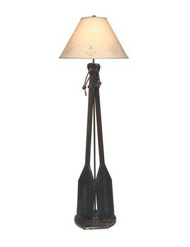 2 Paddles w/ Rope Handles Floor Lamp Weathered Walnut w/ Atlantic Grey