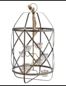 Amelia Rustic Metal Bird Cage Eight Candle Holder Lantern