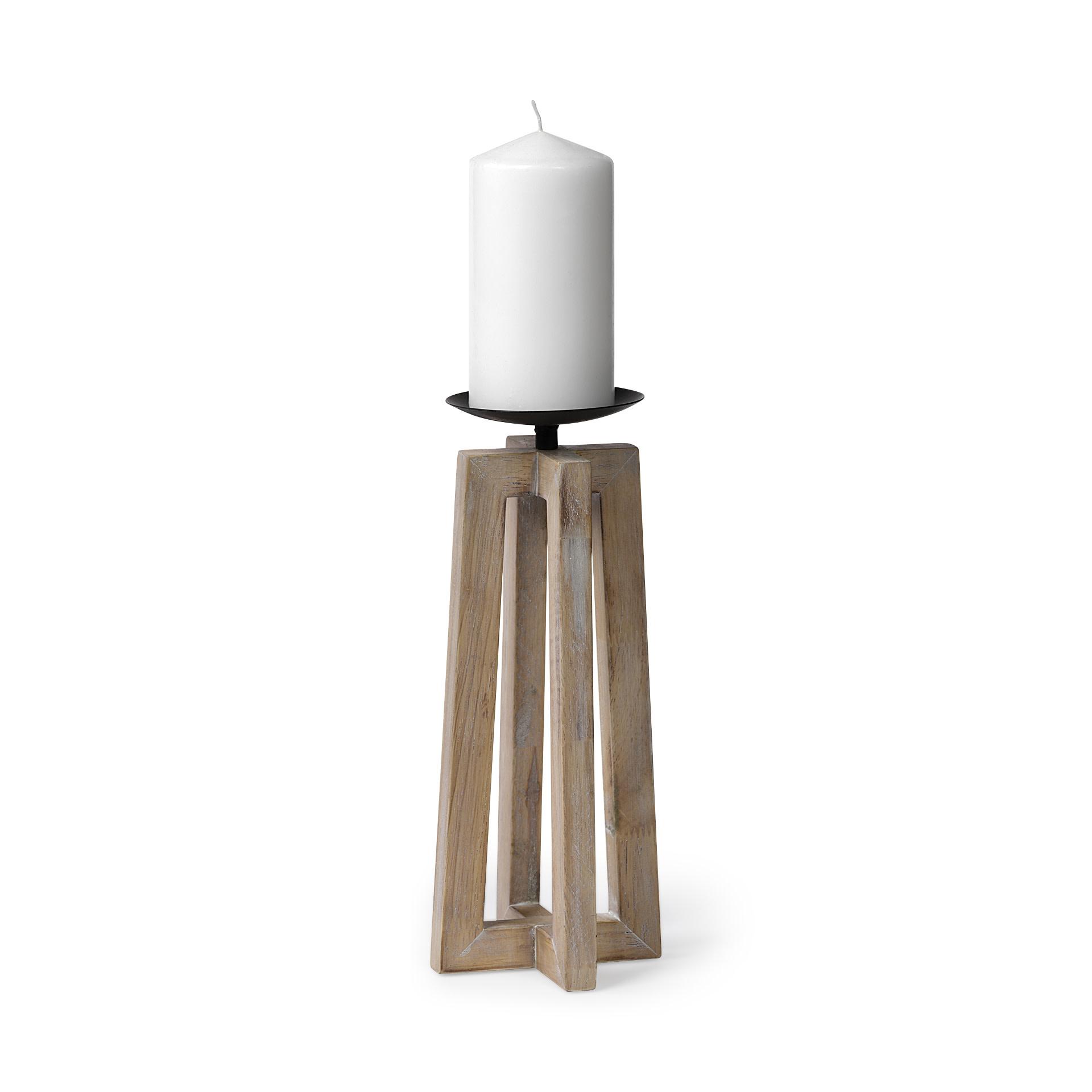 Astra II Large Light Brown Wood Pedestal Base Table Candle Holder