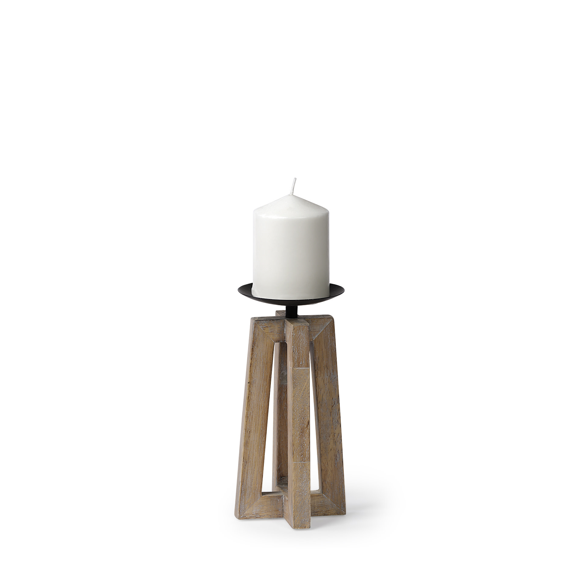 Astra I Small Light Brown Wood Pedestal Base Table Candle Holder