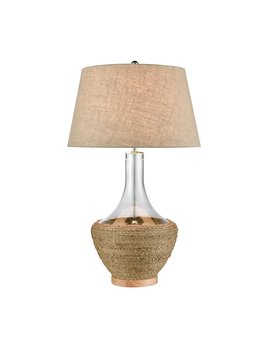 Twined Table Lamp in Clear and Natural Finish with Sand Linen Shade