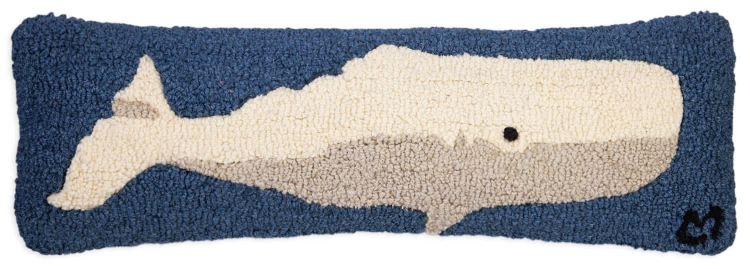 Classic Whale 8x24 Hooked Pillow