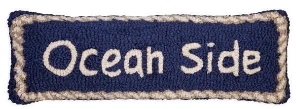 Ocean Side on Blue 8x24 Hooked Pillow