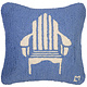 Adirondack Chair on Blue 18x18 Hooked Pillow