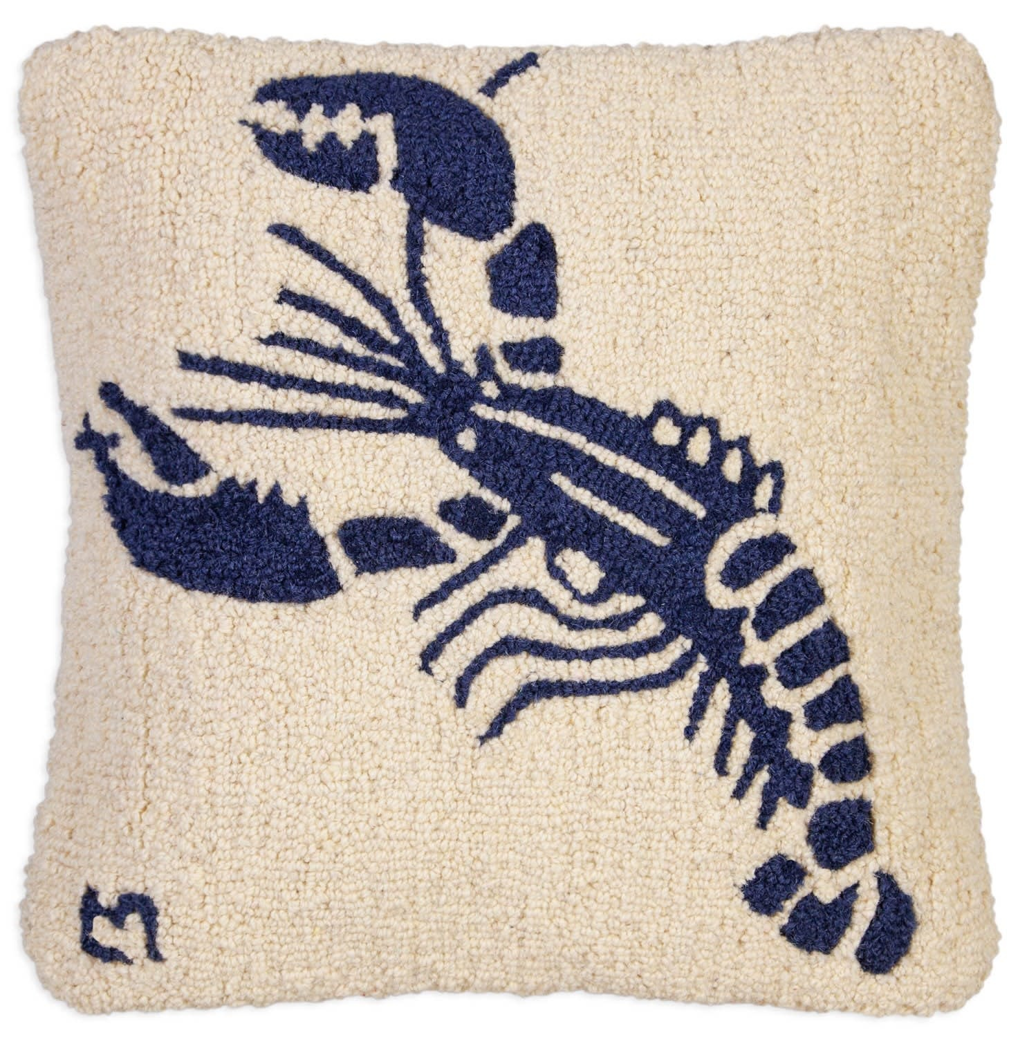 Blue Lobster on White 18x18 Hooked Pillow