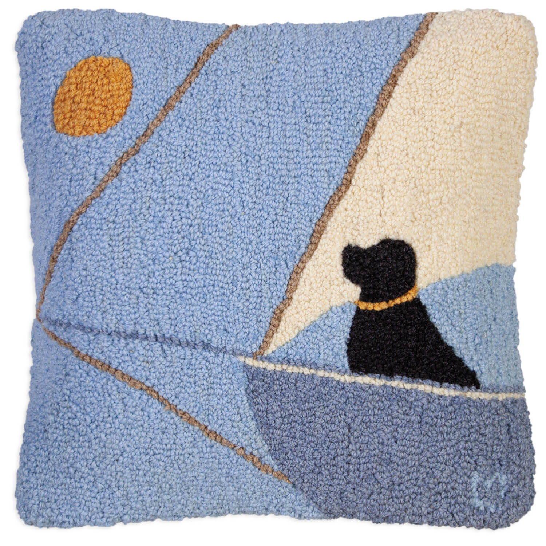 Follow the Sun Black Lab 18x18 Hooked Pillow