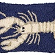 White Lobster on Navy 8x12 Hooked Pillow